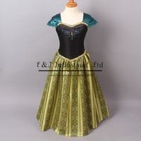 Retail 2014 Green Anna Dress Emboirdery Top Grade  Frozen Dress Party Elsa Costume Wholesale Kids Wear  GD40701-1