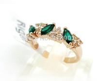 2014 New Fashion Retro Jewelry Wholesale Created Diamond Ring Emerald Ring Green for female 3pcs/lot