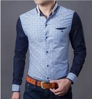 autumn 2014 Han edition cultivate one's morality dot trend Fashion collar shirt   free shipping   L XL XXL 3XL 4XL