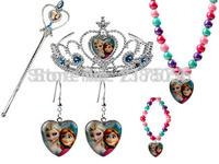 Frozen Jewelry Sets for Girls Frozen Magic Sticker + Crown+ Earring+ Necklace + Bracelet 2014 Christmas Gift for Girls