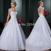 Big Sale Plus Size Wedding Dress With Sleeves Custom Made Bride vestido de noiva 2014 A-Line Open Back vestidos de noivas 2014