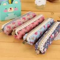 10pcs/lot Cute Canvas Flower Pencil Case Kawaii Cartoon Pencil Bag Stationery For School Girl 19*5cm Wholesale