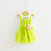 free shipping!high quality girls' embroidery lace dress with belt,girls tulle lace dress,children summer dress