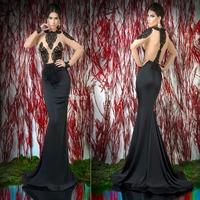 2014 Arabian Design Black Jewel Appliqued Long Sleeve Sheer Back Mermaid Evening Dresses