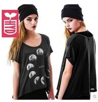 Drop ship!2014 fashion Cotton loose short sleeves blouse womens sexy fashion short T-shirt printing moon tees tops