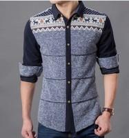 2014 autumn Han edition fashion stitching color long sleeve shirts  free shipping   L XL XXL 3XL 4XL  beige and blue