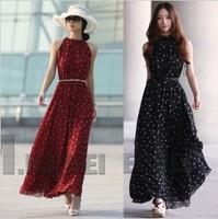 women Chiffon dress wave point posed long skirt collar sleeveless  loose dress