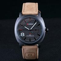 Fashion Brand  Men Quartz  Men Business Dress Wristwatch 3ATM Waterproof Casual Military Watches Leather Strap Sports Watches