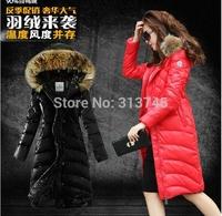 free shipping 2014 BIG real fur brand winter 90% white duck down jacket coat Women  Down  Parkas Women  jacket coat outwear