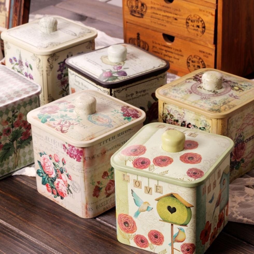 Frete grátis ! Tin Estilo Vintage Café Caixa com Jar caixa de armazenamento tampa de metal Tea vasilha Multi- Uso Armazenamento de venda quente !(China (Mainland))