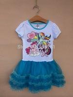 2014 New Fashion my little pony  girls kids short sleeve summer dress 4-6Y girls sparkle blingbling dress