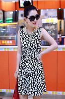 Free Shipping 2014 New Women Summer black dot Chiffon Comfort Mini Dress
