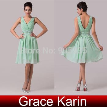 Грейс карин очаровательная свет зеленый шифон + атласа с коротким платье подружки ...