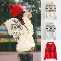2014 Winter Casual Cotton Free Women hoody Warm Printed Fawn Thick Harajuku Long-sleeved Full Pullover Hoodies Sweatshirts 805G