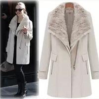 Ladies Fashion Thick coat brand overcoat ladies winter jackets women Fur collar cloak Woolen Blends long overcoat (000377)