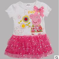 819 Promotions 2014 new original single pink dress peppa pig Kids