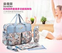 Free shipping multifunctional large capacity mommy handbag fashion print  mommy shoulder bag set gifts women;s messenger bags
