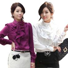 2014 New Fashion Women Ruffles Blouse Shirt High Quality Solid Loose Blouses Women Work Shirt Plus Size Vintage Blusas Work Wear(China (Mainland))