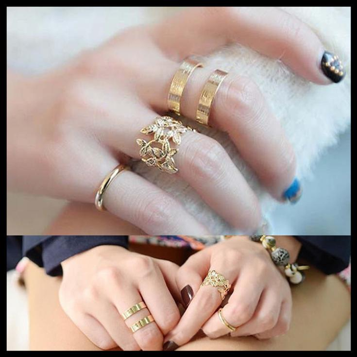 New Fashion Gold Plated Jewelry 3 Pieces/Set Women Knuckle Rings With Hollow Leaves And Other 2 Types RING-00841(China (Mainland))