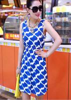 2014 New Fashion Summer Casual Blend Tank Dress Women blue ocean Free Shipping LYQ008-22
