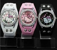 Women's Fashion cute Hello Kitty rhinestone quartz students sport watch WA039