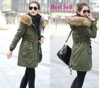 fur lining women's fur  hooded roupas femininas Ladies coats winter warm long coat jacket cotton clothes  parkas Free Shipping