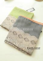 Upscale scarves wholesale gradient cotton yarn lace print scarf shawl Korea
