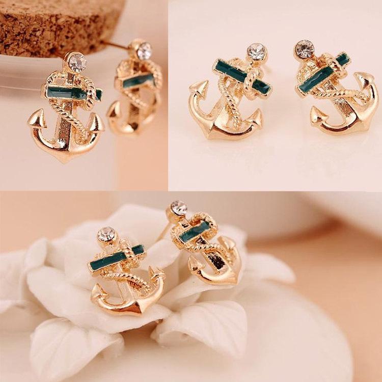 Fashion Chic Women Girl Pair Crystal Rhinestone Sailor Anchor Ear Stud Earrings Gift Drop Shipping EAR-01825(China (Mainland))
