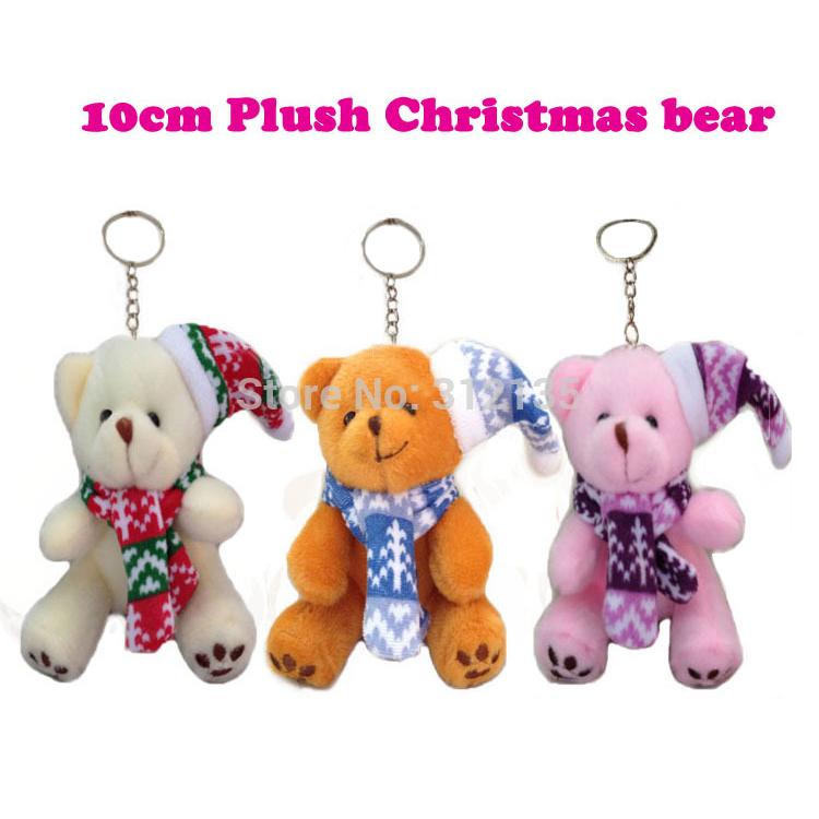 Free Shipping Plush 10cm Christmas Holiday Gift Decoration Sitting Teddy Bear Pink/Beige/Brown 6pcs/LOT(China (Mainland))