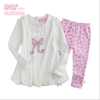 Children's clothing female baby cotton two-piece suit cartoon long sleeve bow out clothes infant Spring models