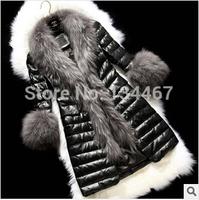 2014 Winter latest Europe styles long section Slim raccoon fur collar women fur coat -057