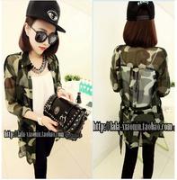2014 free shipping Lacing trench type  chiffon shirt cardigan Camouflage Shirts   9338