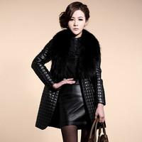 Fashion genuine leather laides clothing female medium-long wadded jacket fur collar outerwear large fur collar leather clothing