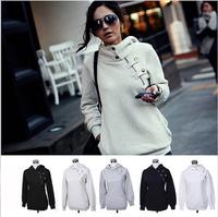 Plus Size XL 2014Winter Slim Hoodies Women Sport Suit Hooded Pullovers Full Press Buckle Hoody Fleece Warm solid Swearshirt 805K