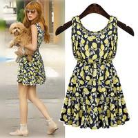 free shipping Sleeveless floral sundress Elastic waist dress cute fashion girl dress