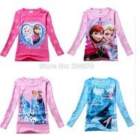 RW0067  2014 New  Free Shipping Children Girls T Shirt Cartoon Frozen Elsa Anna Princess Kids Tops Tees Childrens Blouses Retail