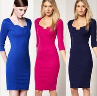 2014 latest fashion trend of European and American women Slim temperament elegance OL knee-length dress