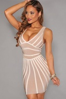 2014 women summer dress casual striped bandage dress evening  party dress sweet vintage sexy lady clubwear TX371