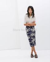 2014 New Fashion Ladies' elegant blue and white porcelain printed Skirts t casual brand design quality skirts #J211