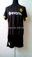 LEWANDOWSKI 9 REUS 11 BVB dortmund 14 15 away soccer football jerseys!Free ship 2014/2015 BVB DORTMUND away black jersey+short