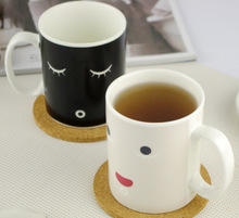 2pcs/lot Free Shipping 300ml Capacity Cermic Porcelain Cup Color Changing Wake up Morning Cup(China (Mainland))