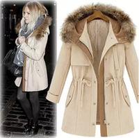 New cloak lady woolen overcoat female winter warm jackets brand hooded coat women Fur collar zipper sashes with Outwear(000701)