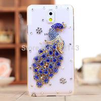 Popular rhinestones skin back cover for samsung galaxy note3 N9000 bling peacock diamond case
