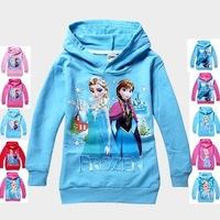 RW0068 Free Shipping 2014 New Frozen Clothes Elsa Princess Children Hoodies Girls Cartoon T-shirt Baby Kids SweatShirts Retail