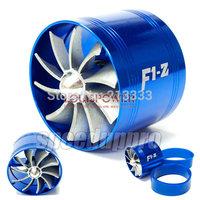 BLUE Universal  single  Turbo Fan Supercharger Car F1-Z Air Intakes Fuel Gas Saver Propeller Turbonator ventilator booster