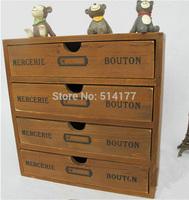 Retail 1pc handmade Retro style Zakka vintage wooden drawers storage cabinet solid wood jewelry box  finishing storage box