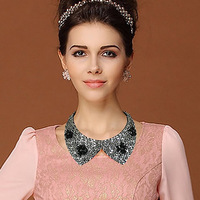 2014 Collar Necklaces Women,Beautiful Crystal Fashion Jewelry Chokers Necklaces False Collares Girls, Length: Can adjusted