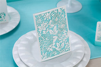 New arrivals 100pcs/lot laser cut 185mm and 129mm wedding invitations with turquoise inner sheet
