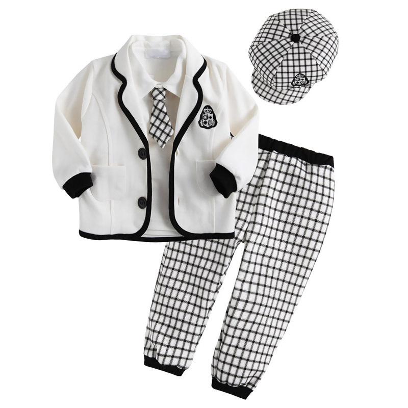 Frete grátis 2014 outono novos rapazes Chegada academia belo conjunto roupas de estilo , chapéu + gravata + jaqueta + camisa + calça definida, 5sets / lot(China (Mainland))