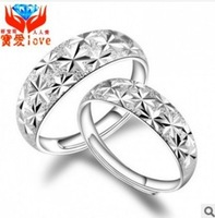 Fashion Silver Ring with Frosting Surface Elegant Style Cupronickel lovers ring 2pcs/lot